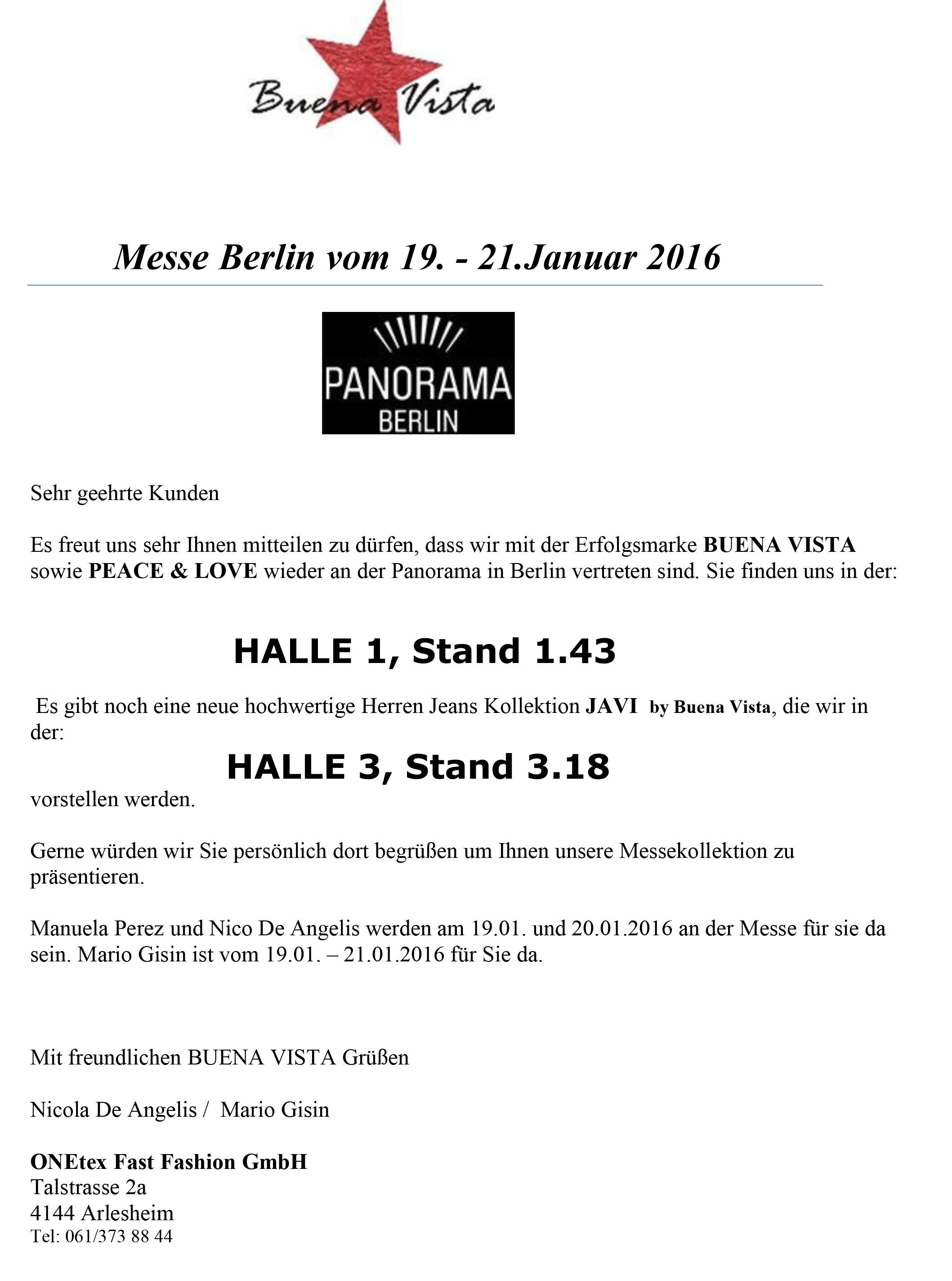 einladung: messe panorama berlin vom 19. – 21. januar 2016 – onetex, Einladung
